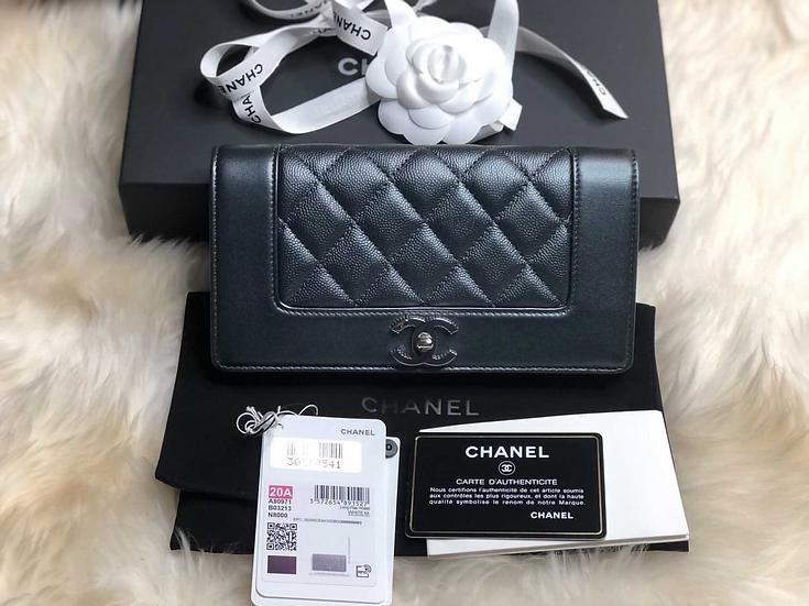 Chanel Long Flap Wallet - White Metal