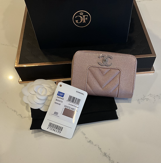 Chanel Pink Iridescent Coin And Credit Card Wallet