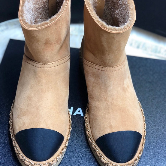 Chanel | Suede Shearling Cap Top Boot