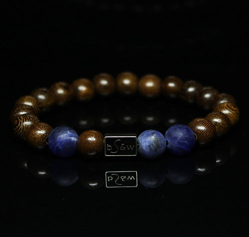 Blue Sodalite Matte Wood BeadS