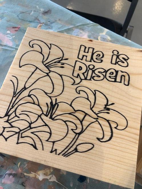 8x8 Prestenciled He is Risen Board Art