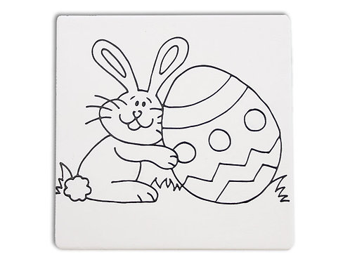 Stenciled Bunny Tile