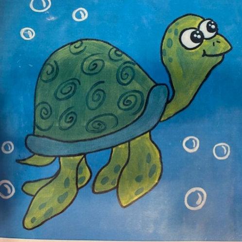 Turtle Pretraced Canvas