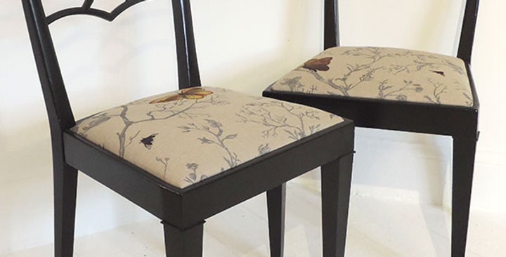 Pair of mid century ebonized chairs