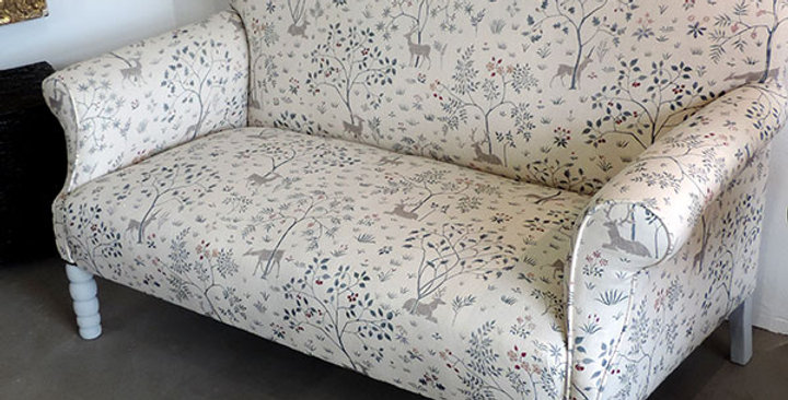 English curved back sofa