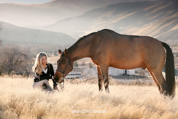 Horse and Rider Portrait Photography at sunset