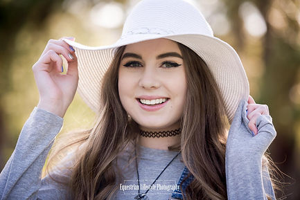 Senior Portrait Photography of  young woman with hat