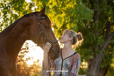 Sunset Photo of horse and girl, equine photography