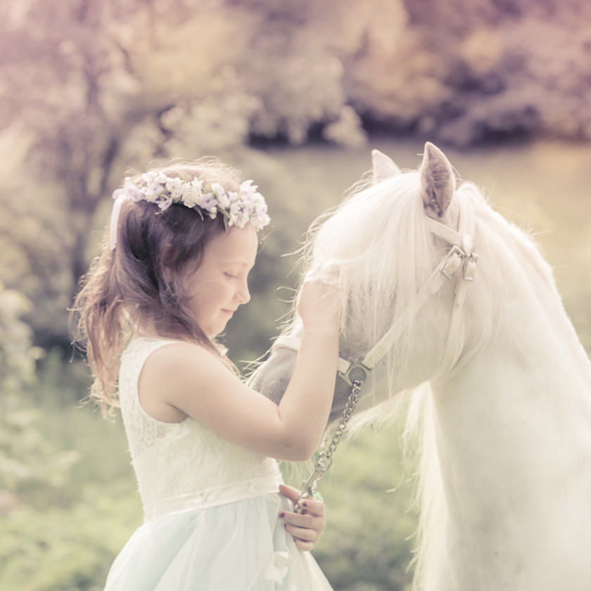 fairytale princess photography with white pony