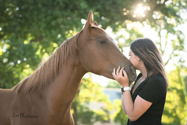 Horse Filly with owner, portrait photography