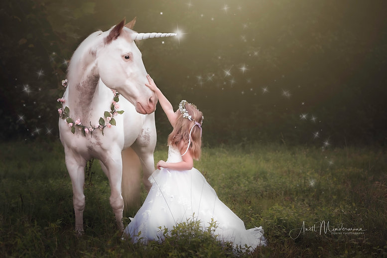 Unicorn and girl during equine photo session