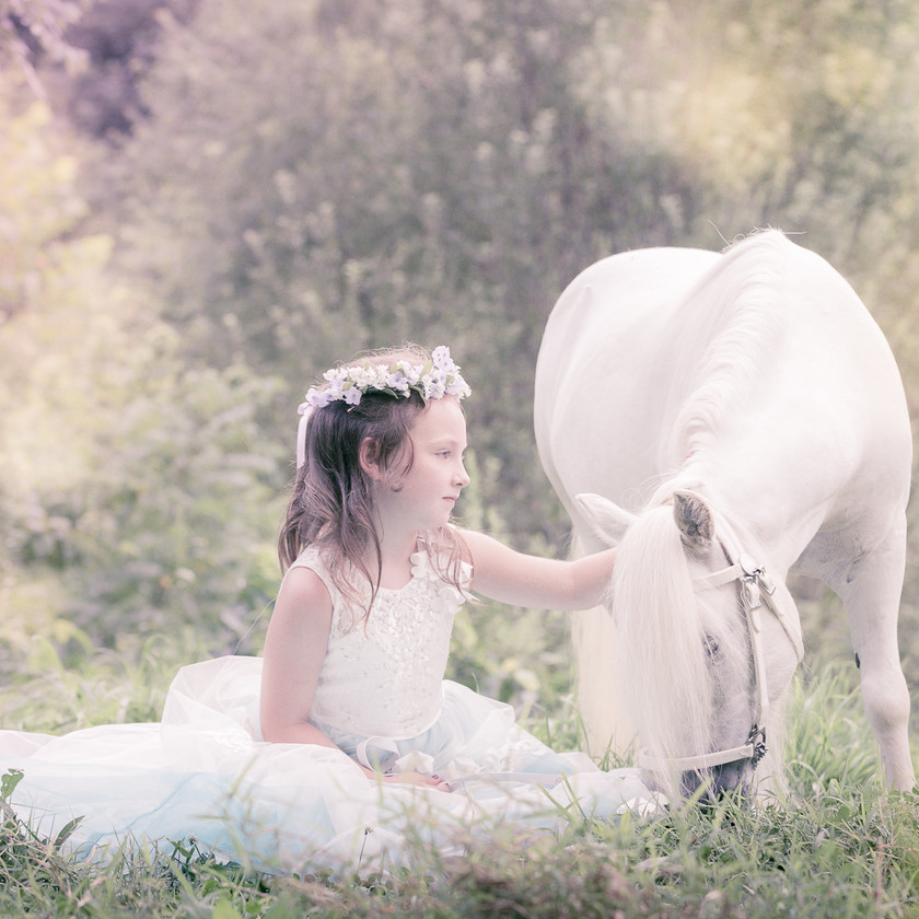 little girl in a princess dress sitting next to her white pony