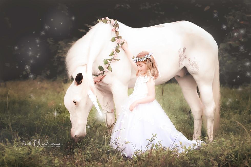 Princess standing next to Unicorn
