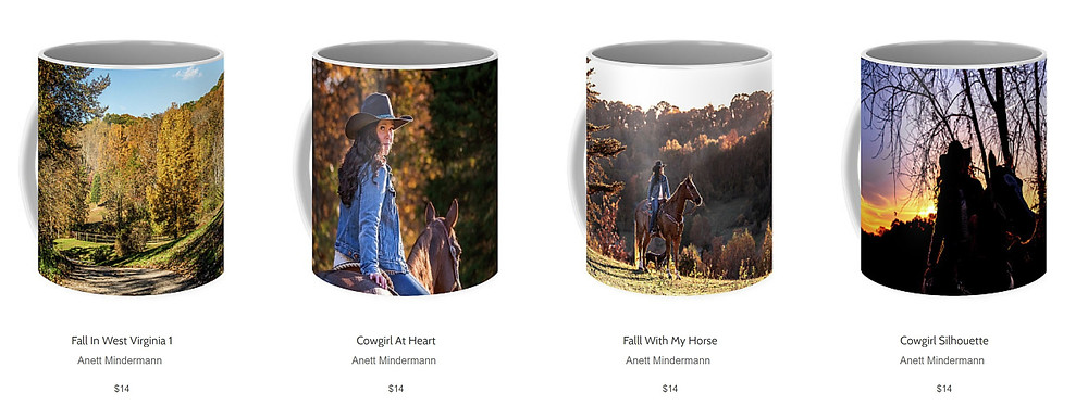 Coffee Mugs with Cowgirl design