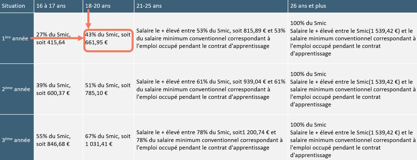 Salaire apprentissage 18 ans en première année - Bestudent.fr