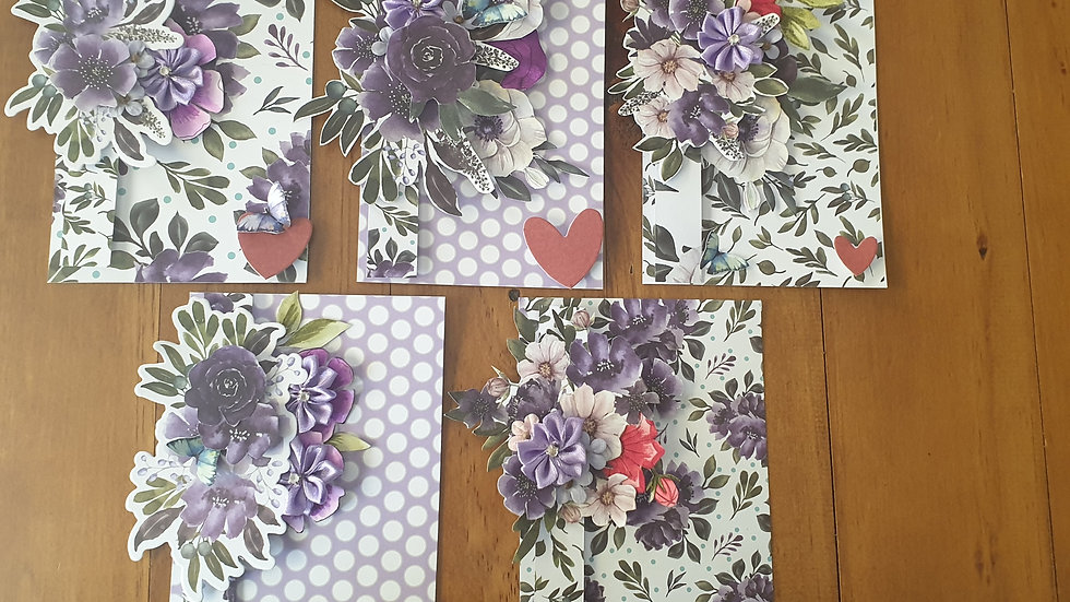 Pack of 5 Floral Invitations