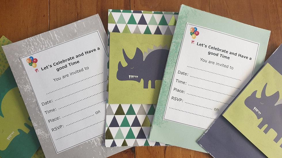 Pack of 5 Dinosaur Invitations
