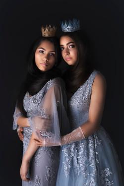 atlanta studio photo session elegant beautiful girls sisters in gray dress gown hugging