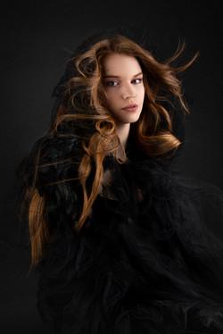 atlanta studio photo session elegant beautiful woman in black dress long red hair