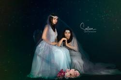 atlanta studio photo session elegant beautiful girls sisters in gray dress gown sitting