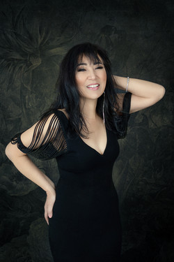 atlanta studio photo session elegant beautiful woman in black dress