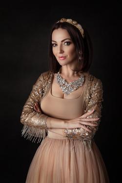 atlanta studio photo session elegant beautiful woman in gold dress