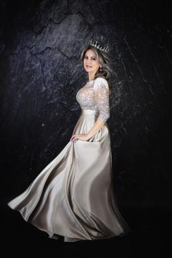 atlanta studio photo session elegant beautiful woman in gray long  dress birthday session