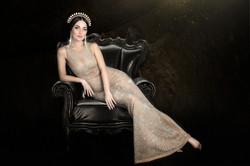 atlanta studio photo session elegant beautiful woman in gold dress sitting on the chair