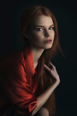 atlanta studio photo session elegant beautiful woman in orange top