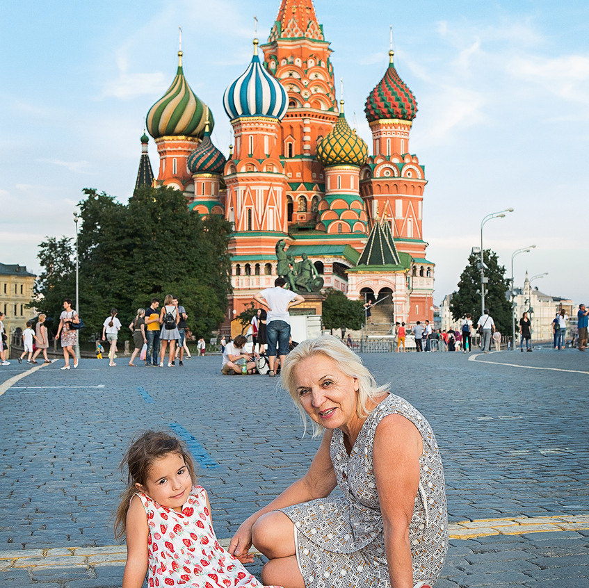 My daughter and my mother on the red square