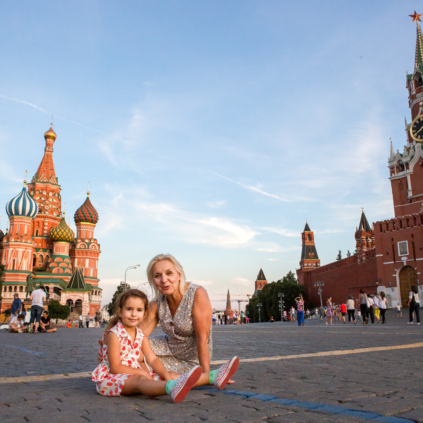 My daughter and my mother on the red square tired