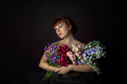 atlanta studio photo session elegant beautiful woman in red dress holding flowers