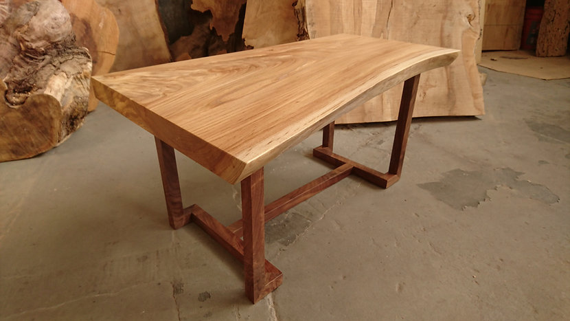 elm and walnut table with wood M Ling base