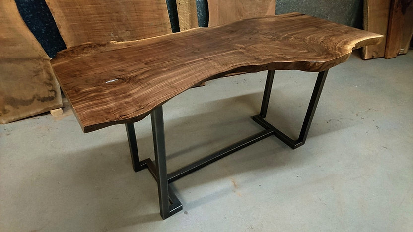 live edge walnut top with blackened steel M Ling base