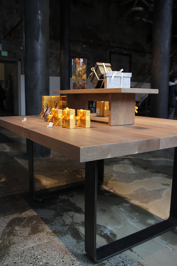 walnut display table with removable shelf