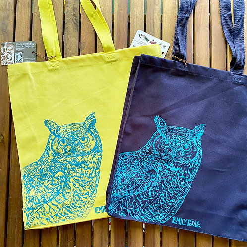 Book Bags: Turquoise Owl