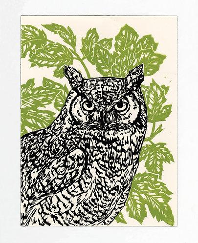 Great Horned Owl Block Print