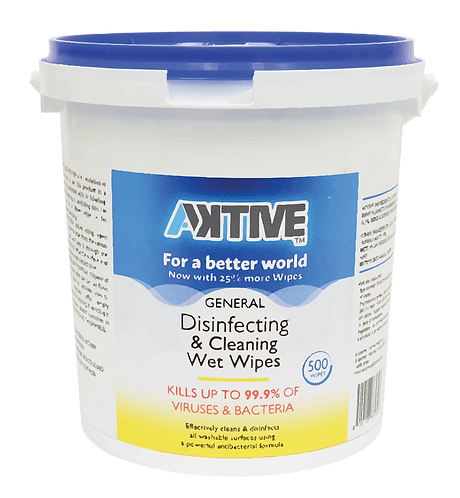 Aktive Disinfecting & Cleaning Wet Wipes (500 Ct) - Case of 6 Tubs
