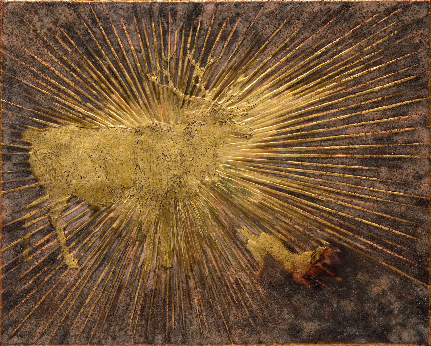 """Intaglio Prints, Polymer Emulsion, Sepia, Rust, Hide Glue, Marble Dust, Bole, and Gold Leaf on Linen over Panel. 10"""" x 12""""."""