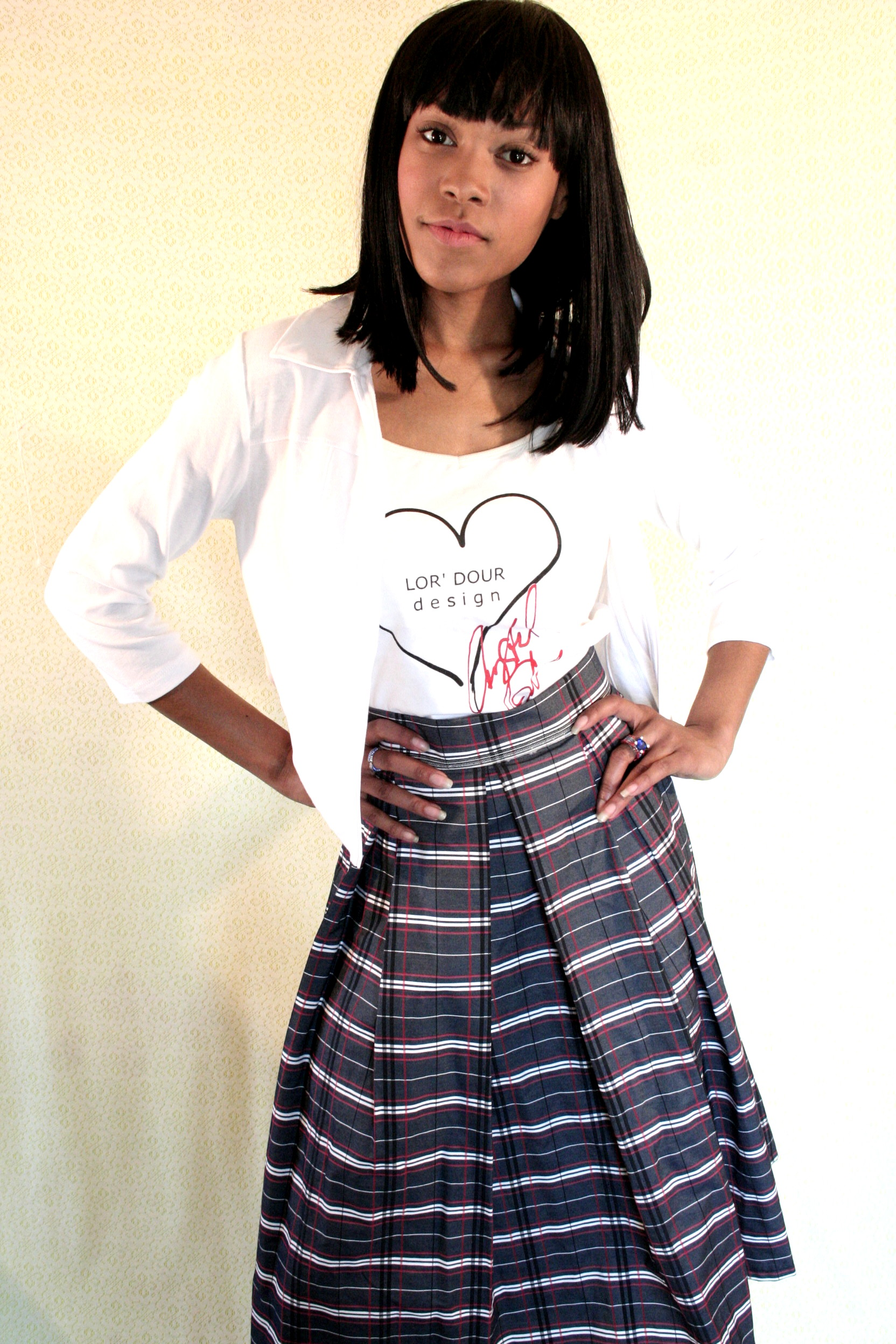 White Jacket with Plaid Skirt