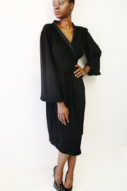 Wrap Dress Black Double Knit