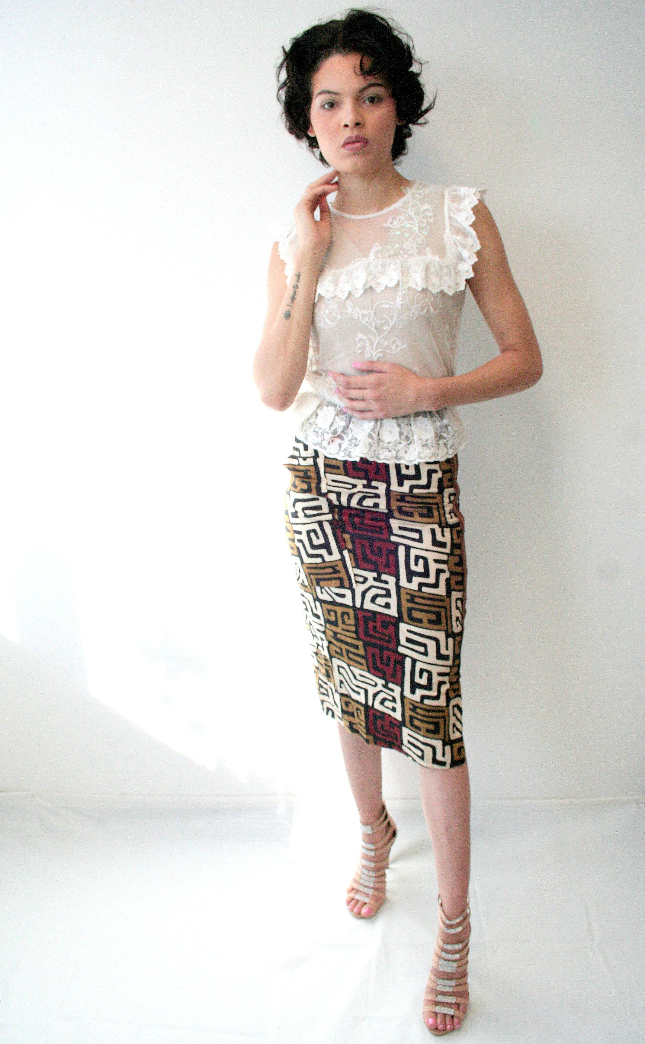 African Printed Pencil Skirt