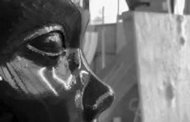 Making of African queen in the marble studio. Working Belgium black marble...