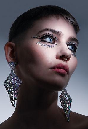 rhinestone makeup look, creative makeup artist