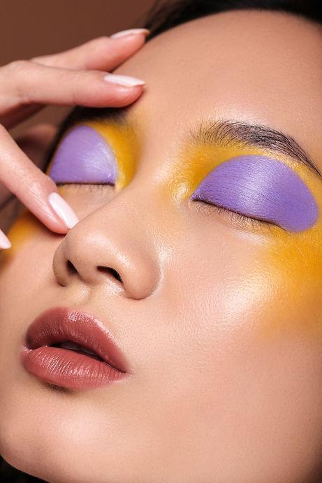 colorblock makeup look, creative makeup artist
