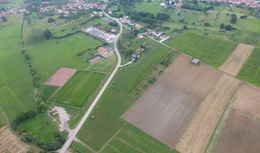 vue aérienne - stade rue d'Insming