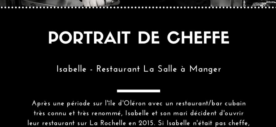 Isabelle, cheffe au Restaurant La Salle à Manger