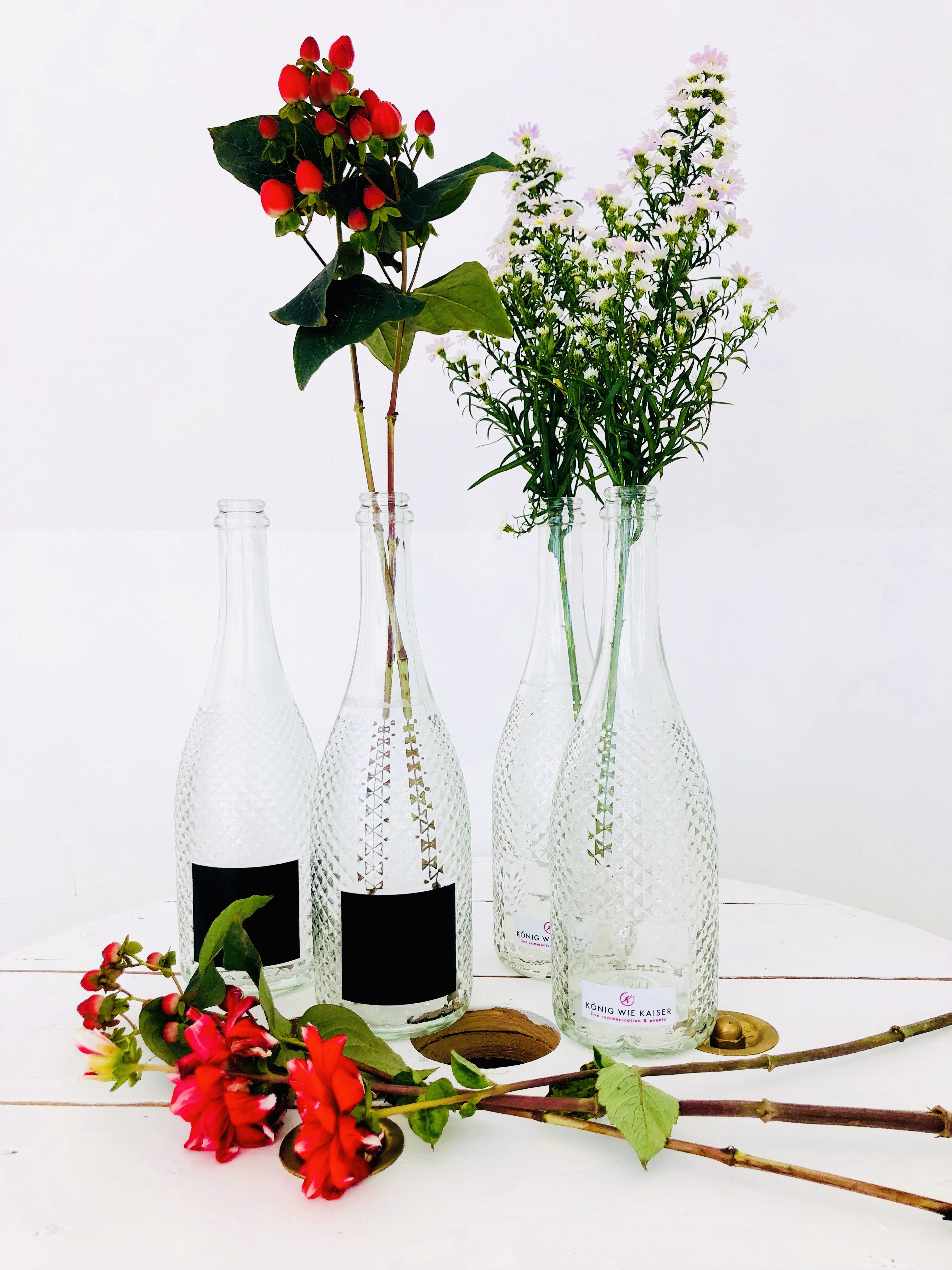 Flaschenvase mit Beschriftungsfeld