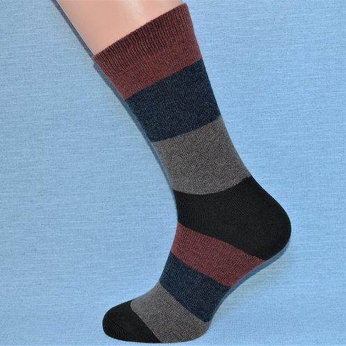 Cashmere Block Sock - Rust