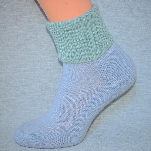 Cashmere Lounge Sock - Powder Blue/Teal